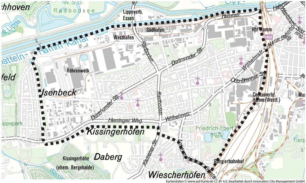 InnovationCity roll out-Quartier Hamm-Weststadt Abgrenzung