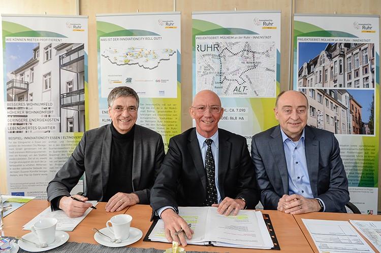 Mülheim an der Ruhr - InnovationCity roll out - v.l.n.r. Vermeulen, Scholten, Drescher