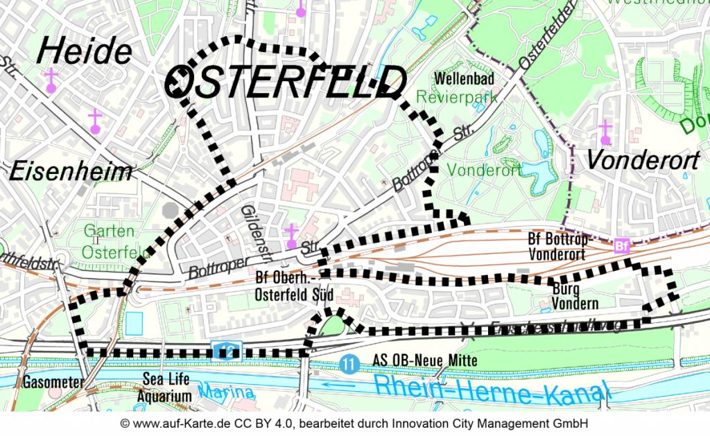 Karte Projektgebiet Oberhausen Osterfeld-Mitte / Vondern